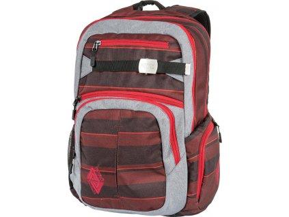 NITRO batoh HERO red stripes  + Sluchátka, myš nebo pouzdro