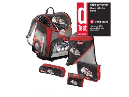 Školní aktovka - 5-dílný set, Step by Step American Truck, certifikát AGR  + LED svítilna