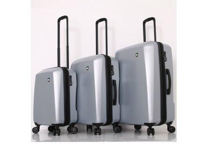 Sada cestovních kufrů MIA TORO M1713/3 - stříbrná  + LED svítilna
