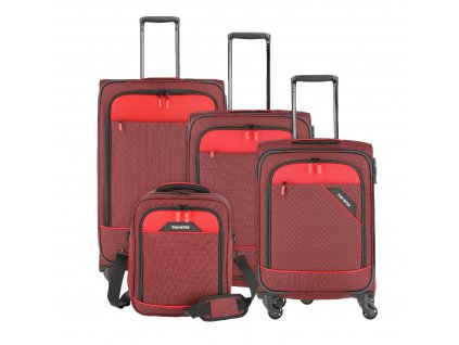 Travelite Derby 4w S,M,L Red – sada 3 kufrů + Board Bag  + LED svítilna