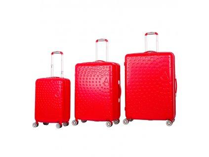 Sada cestovních kufrů AEROLITE T-565/3 ABS - červená  + LED svítilna