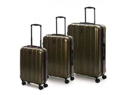 Sada cestovních kufrů ROCK TR-0201/3 PC - zlatá  + LED svítilna