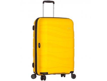 Cestovní kufr SIROCCO T-1233/3-M PC - žlutá  + LED svítilna