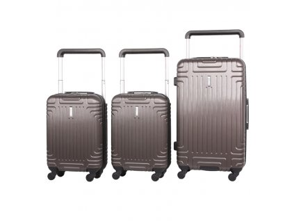 Sada cestovních kufrů AEROLITE T-2821/3 ABS - charcoal  + LED svítilna