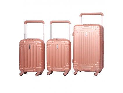 Sada cestovních kufrů AEROLITE T-2821/3 ABS - růžová  + LED svítilna