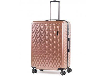 Cestovní kufr ROCK TR-0192/3-L ABS/PC - růžová  + LED čelová svítilna