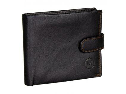 Pánská kožená peněženka METRO MTB09 - černá/oranžová