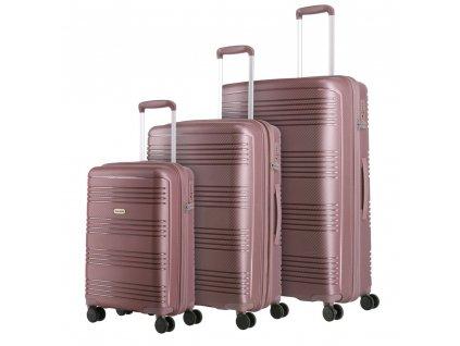 Travelite Zenit S,M,L Dark Rose – sada 3 kufrů  + LED svítilna