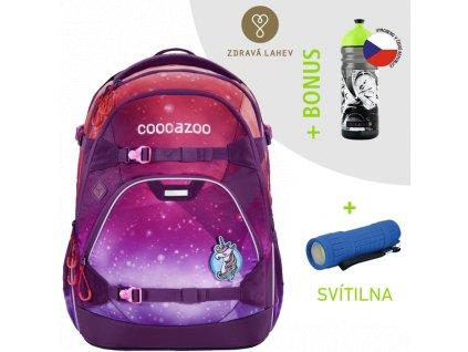 Školní batoh coocazoo ScaleRale, OceanEmotion Galaxy Pink, certifikát AGR  + LED svítilna + Sportovní láhev