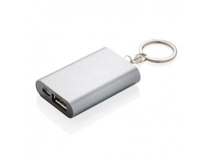 Kompaktní powerbanka 1000 mAh na klíče, Loooqs, antracitová