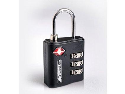 Bezpečnostní TSA kódový zámek na zavazadla TravelBlue TB036 - černá