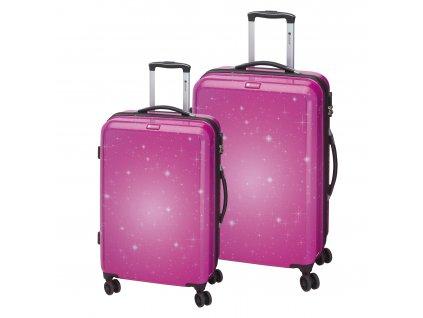 Check.In Galaxy M,L – sada 2 kufrů Pink  + LED svítilna
