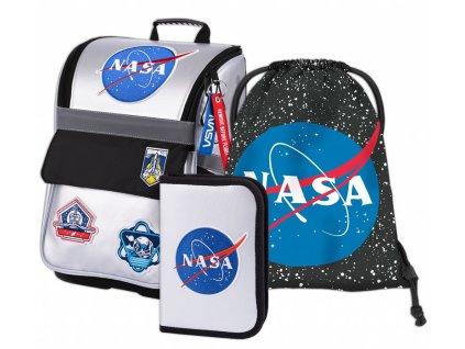 BAAGL SET 3 NASA: aktovka, penál, sáček  + LED svítilna