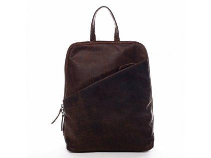 Green Wood Praktický kožený batoh Florent Green Wood hnědá 8l  + LED svítilna