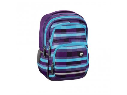 Školní batoh All Out Blaby, Summer Check Purple  + LED svítilna