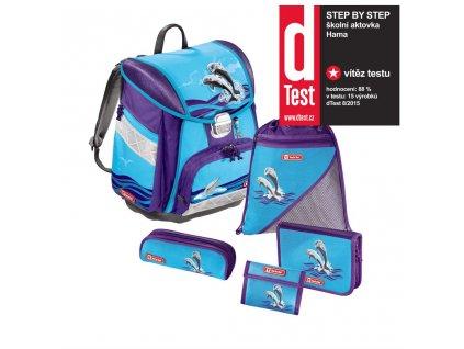 Školní aktovka - 5-dílný set, Step by Step Delfíni, certifikát AGR  + 5 % sleva po registraci + LED svítilna