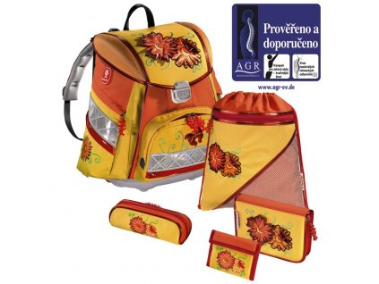 HAMA Školní batoh - set, Step by Step KVĚTINY s LED osvětlením  + 5 % sleva po registraci + LED svítilna