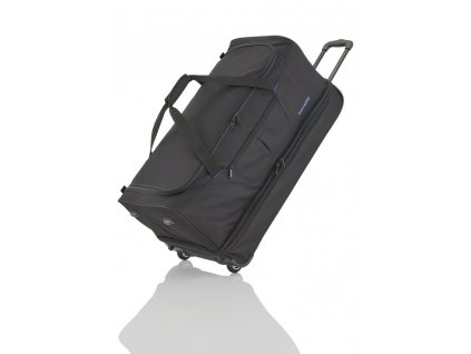 Travelite Basics Wheeled duffle L Black/blue  + LED svítilna