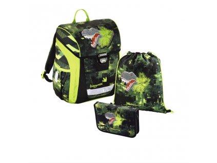 Školní aktovka - 3-dílný set, Baggymax Trikky Dino, hmotnost pouze 0,65 kg  + Sluchátka, myš nebo pouzdro