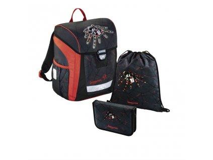 Školní aktovka - 3-dílný set, Baggymax Trikky Pavouk, hmotnost pouze 0,65 kg  + Sluchátka, myš nebo pouzdro