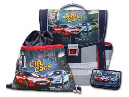 Školní aktovkový set City Cars 3-dílný  + LED svítilna