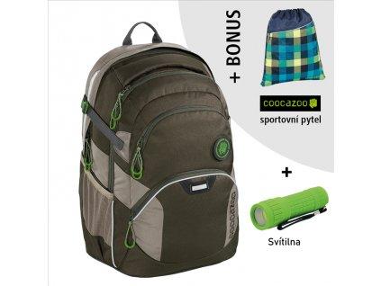 Školní batoh Coocazoo JobJobber2, Solid Woodsman  + LED svítilna + sportovní pytel
