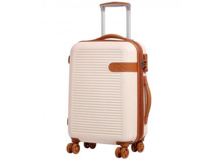 Kabinové zavazadlo ROCK TR-0159/3-S ABS - krémová  + LED svítilna
