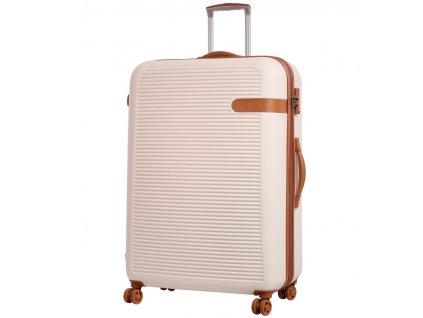 Cestovní kufr ROCK TR-0159/3-XL ABS - krémová  + LED svítilna