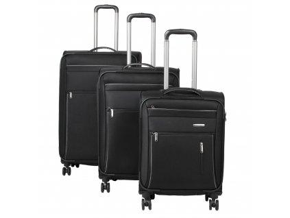 Travelite Capri 4w S,M,L Black – sada 3 kufrů + BB  + LED svítilna