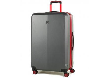 Cestovní kufr MEMBER'S TR-0150/3-L ABS - šedá/červená  + LED svítilna