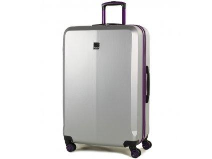 Cestovní kufr MEMBER'S TR-0150/3-L ABS - stříbrná/fialová  + LED svítilna