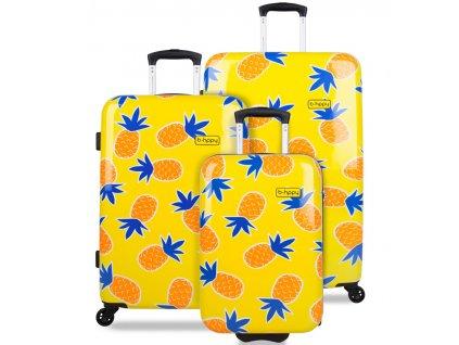Sada cestovních kufrů B.HPPY BH-1607/3 - Home Sweet Pineapple  + Sluchátka, myš nebo pouzdro