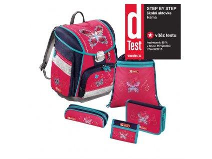 Školní aktovka - 5-dílný set, Step by Step Motýl, certifikát AGR  + Sluchátka, myš nebo pouzdro