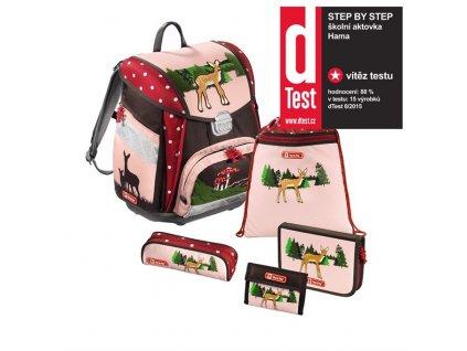 Školní aktovka - 5-dílný set, Step by Step Srneček, certifikát AGR  + Sluchátka, myš nebo pouzdro