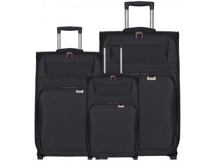 Sada cestovních kufrů AEROLITE T-9515/3 - černá  + LED svítilna