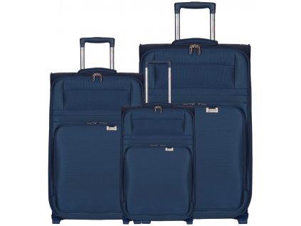 Sada cestovních kufrů AEROLITE T-9515/3 - tmavě modrá  + LED svítilna