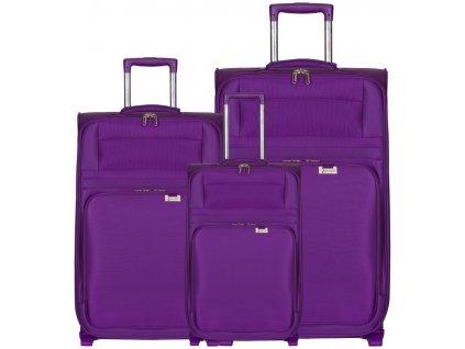 Sada cestovních kufrů AEROLITE T-9515/3 - fialová  + LED svítilna