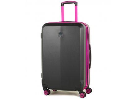 Cestovní kufr MEMBER'S TR-0150/3-M ABS - černá/růžová  + LED svítilna