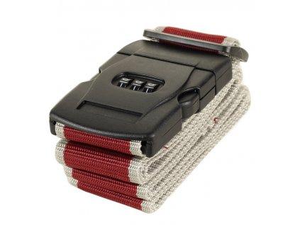 Bezpečnostní popruh na kufr s kódovým zámkem ROCK TA-0012 - vínová/šedá