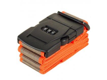 Bezpečnostní popruh na kufr s kódovým zámkem ROCK TA-0012 - šedá/oranžová