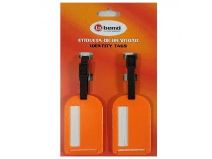 Jmenovky na zavazadlo Benzi 2ks BZ4066 - oranžová