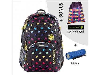 Školní batoh Coocazoo JobJobber2, Magic Polka Colorful  + LED svítilna + sportovní pytel