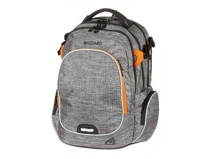 Studentský batoh WIZZARD Grey  + Sluchátka, myš nebo pouzdro