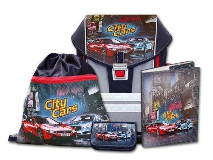 Školní aktovkový set ERGO ONE City Cars 4-dílný  + LED svítilna