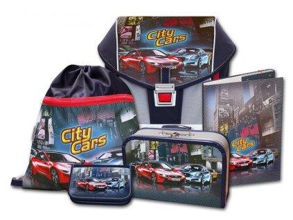 Školní aktovkový set ERGO ONE City Cars 5-dílný  + LED svítilna