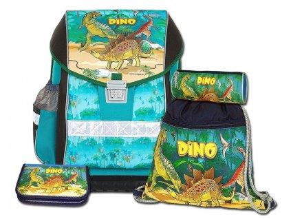 Školní aktovkový set ERGO ONE Dino 4-dílný  + LED svítilna