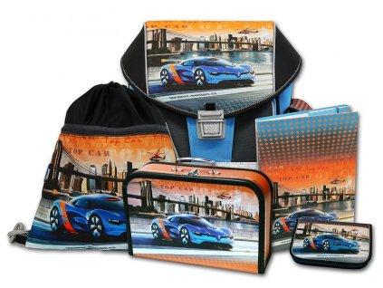 Školní aktovkový set ERGO ONE Top Car 5-dílný  + LED svítilna