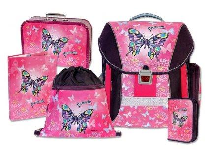 Školní batohový set Butterfly 5-dílný  + LED svítilna