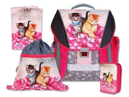 Školní batohový set Cats & Mice 4-dílný  + LED svítilna