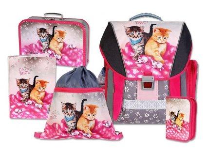 Školní batohový set Cats & Mice 5-dílný  + LED svítilna